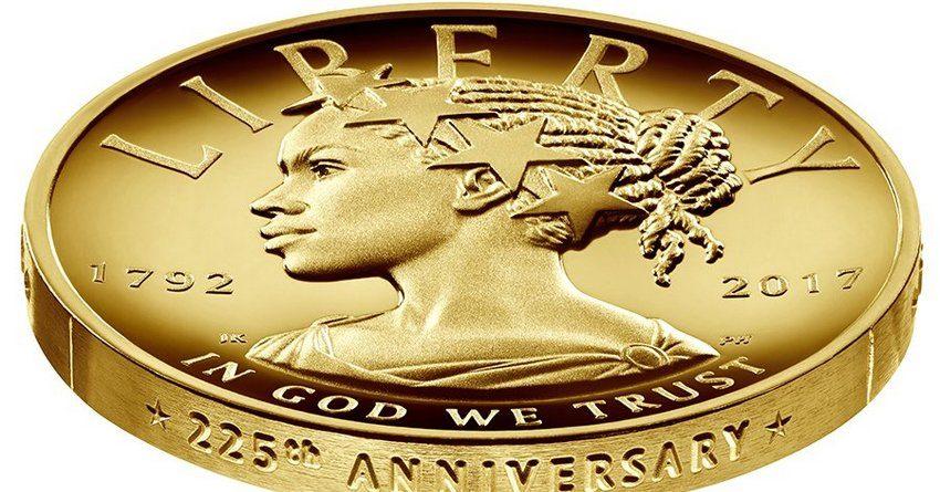 Золотая монета с афроамериканкой в образе Леди Свободы появится в США